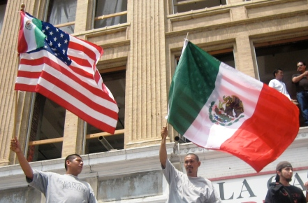 """US & Mexican Flags"" by chrissam42.  Available at http://www.flickr.com/photos/chrissam42/) Licenced under a Creative Commons Attribution-NonCommercial 2.0 Generic (CC BY-NC 2.0) licence."